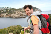 Hiker with bottle of water — Stock Photo