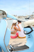 Tourists websurfing on harbour — Stock Photo