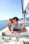 Couple on sailboat deck — Stock Photo