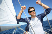 Skipper while sailing — Stock Photo