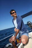 Skipper in mediterranean sea — Stock Photo