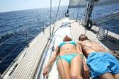Couple taking sunbath — Stock Photo
