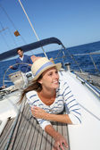 Woman on boat — Stock Photo