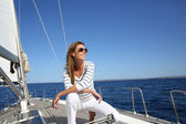 Woman enjoying sailing — Stock Photo