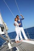 пара, плавание на яхте — Стоковое фото