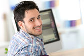 Web-design student in office — Stock Photo
