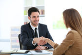 Woman giving handshake — Stock Photo