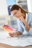 Architect with eyeglasses working — Stock Photo