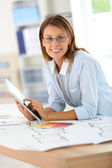 Architect using tablet — Stock Photo