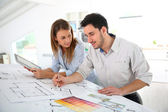 Architects in working office — Stock Photo