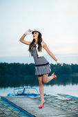 Beautiful sailor woman looks into the distance — Stock Photo