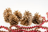 Grupa siedmiu szyszki sosny złoty i czerwony girlanda — Zdjęcie stockowe
