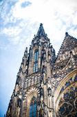 Prague Castle-Saint Vitus Cathedral, part of the facade — Stock Photo