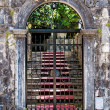 Stock Photo: Old closed wrought-iron gates