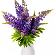 Beautiful lupine bouquet in vase — Stock Photo