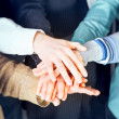 Group of business with hands together — Stock Photo