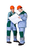 青写真を持つ若い建設労働者の分離された画像 — ストック写真
