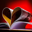 Stock Photo: Pages curved into a heart shape