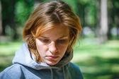Portrait of a beautiful sad woman — Stock Photo
