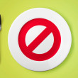 Empty plate with restricted red sign on it - dieting concept im — Stock Photo