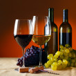 Bottle and glass of red wine — Foto de Stock