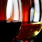 Bottle and wineglasses closeup — Stock Photo