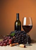 Bouteille et verre de vin rouge — Photo