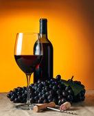 Botella y vaso de vino tinto — Foto de Stock