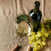 Botella y vaso de vino blanco — Foto de Stock