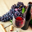 Bottle and glass of red wine — Foto Stock