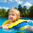 Little baby swimming in a pool on swimming ring — Stock Photo