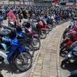 Many motorbikes at the parking — Stock Photo #27169873