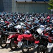 Many motorbikes at the parking — Stock Photo #27169911