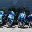 Stock Photo: Many motorbikes at parking