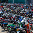Many motorbikes at the parking — Stock Photo #27169971