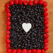 Colorful border frame made of berries — Stock Photo