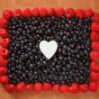 Colorful border frame made of berries — Lizenzfreies Foto