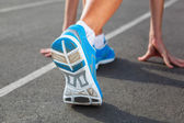 Closeup of runners shoe - running concept — Stok fotoğraf