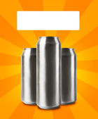 Aluminum cans with blank space for text. — Stock Photo