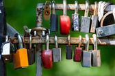 Many Love locks on the bridge. — Stock Photo