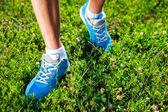 在草地上跑步鞋. — 图库照片