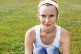 Portrait of a sporty young woman. — Stock Photo