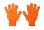 Orange work gloves isolated on white. — Stock Photo