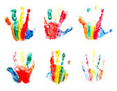 Hands prints made by children isolated on white. — Stock Photo