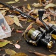 Fishing tackle on wooden surface. — Stok fotoğraf