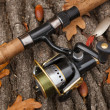 Fishing tackle on wooden surface. — Foto Stock