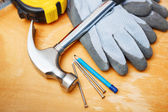 Set of DIY tools on wooden table. — Stock Photo