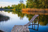 Old wooden fishing pier. — Stockfoto