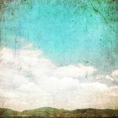 Clouds in summer blue sky - vintage edit. — Zdjęcie stockowe