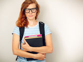 Portrait of Young smart student with books. — Stock Photo